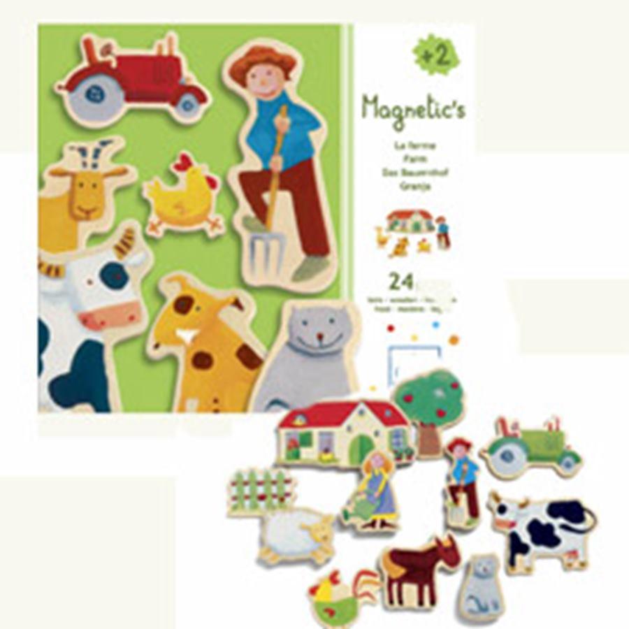 Drevené magnetky pre deti Zvieratká farma 24 ks Djeco od 2 rokov ... 96c02452ab0