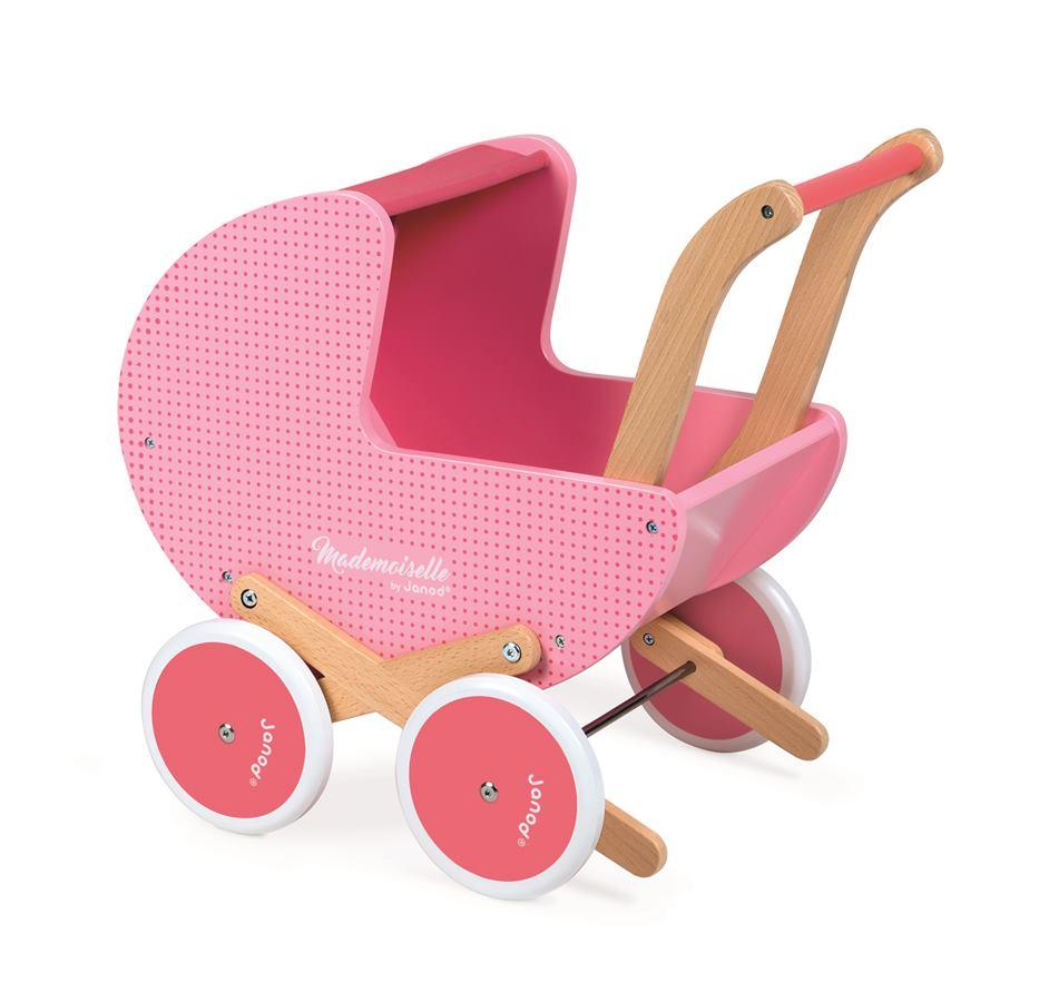 7ddf071a2 Drevený kočík pre bábiky Mademoiselle Janod ružový s perinkou pre deti od 1  roka - Skladom