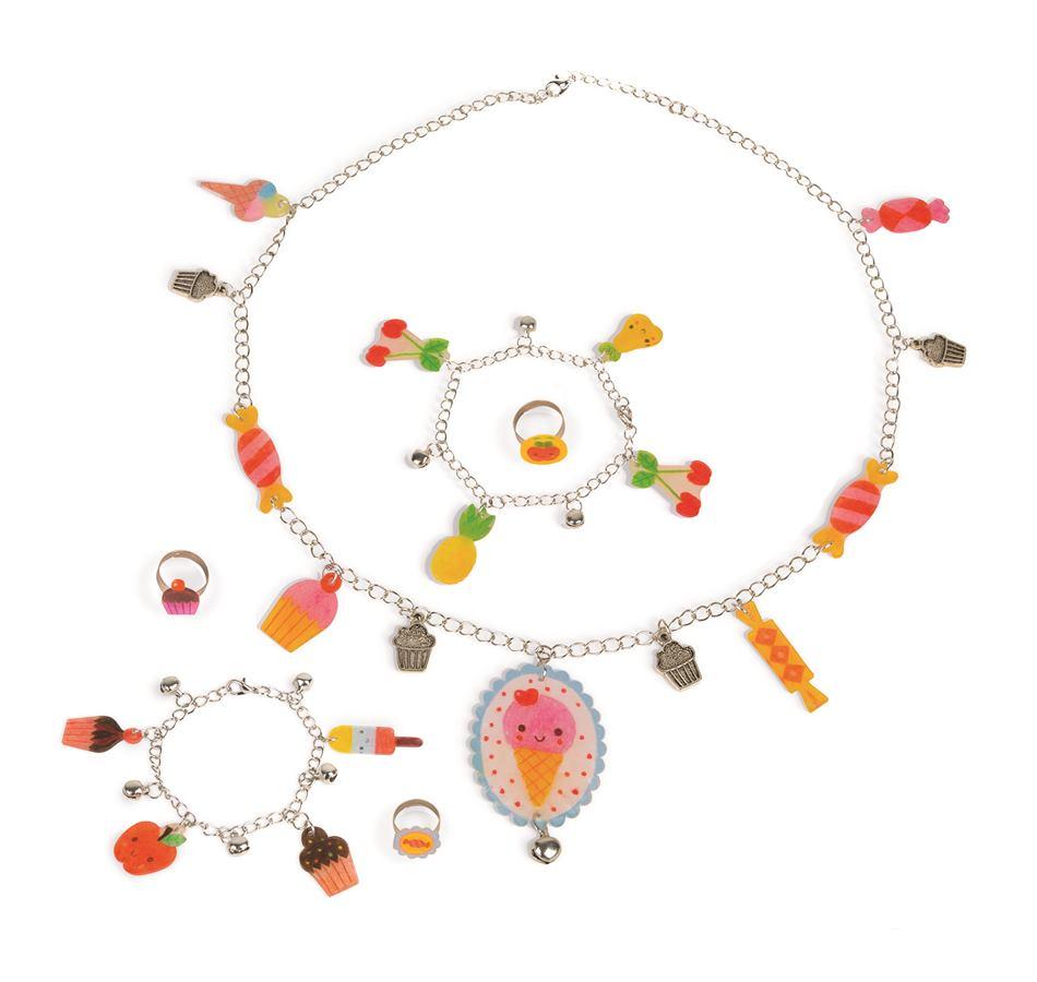 Kreatívna sada Sladkosti Janod výroba šperkov navliekanie v kufríku od 6-12  rokov 40e9c5b0cbe