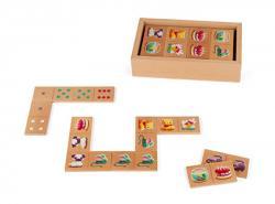Drevené domino pre deti s farebnými obrázkami Janod ada6e77bfca