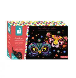Kreatívne hračky na tvorenie Vyškrabovacie obrázky Zvieracie masky Janod  Atelier Sada Midi 9717c7e176b
